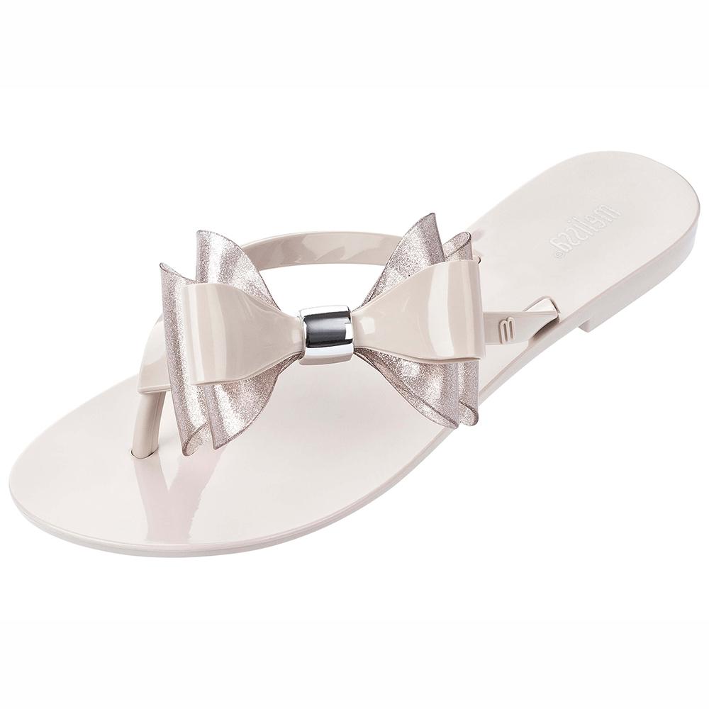 MELISSA 雙層大蝴蝶結夾腳鞋-米/銀