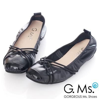 G.Ms. MIT系列-牛皮交織皮帶芭蕾舞娃娃鞋-時尚黑