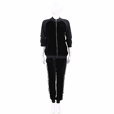 PINKO 蕾絲荷葉細節黑色絨面休閒套裝