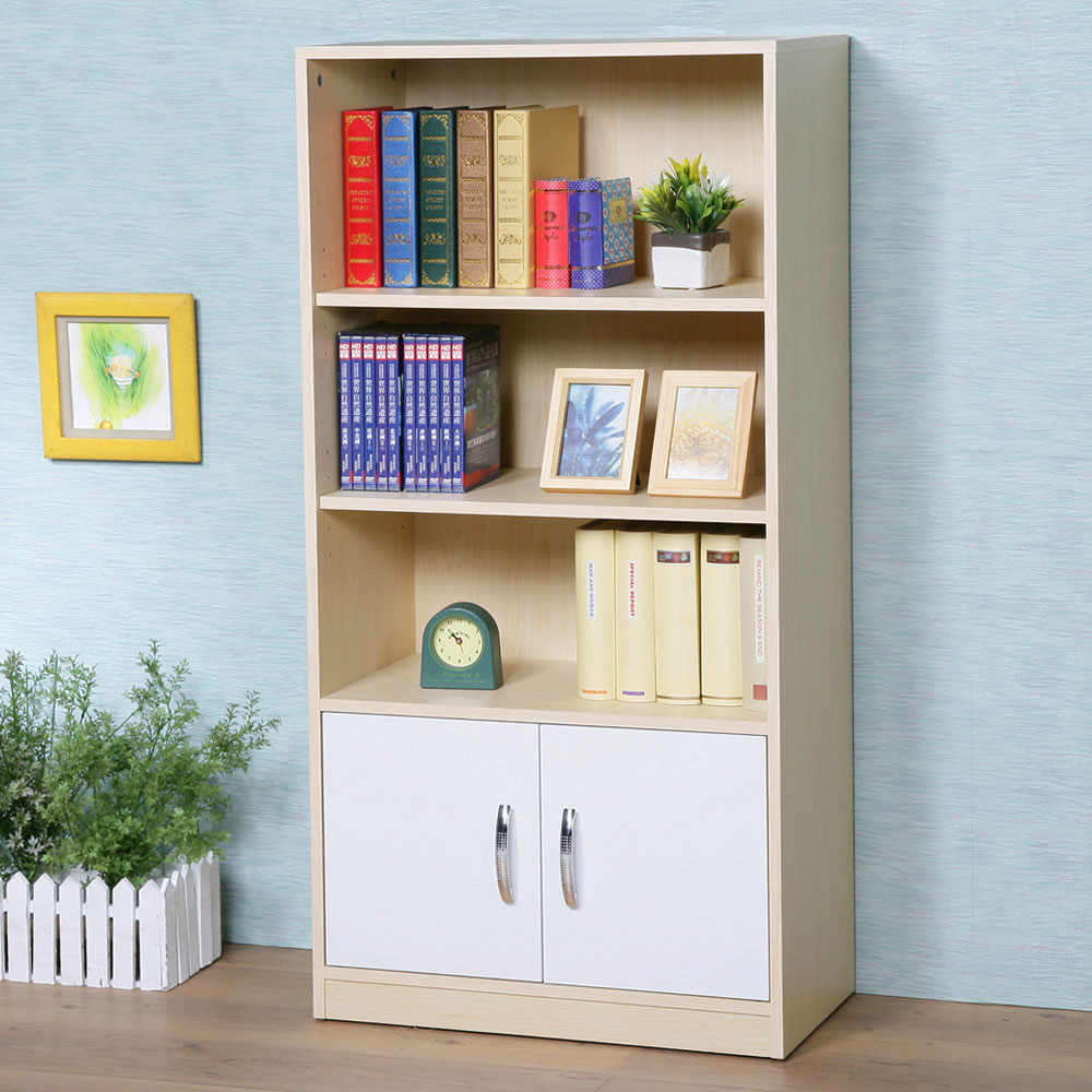 Homelike 艾爾雙門三格書櫃(楓木+白色)-60x30x120cm-DIY