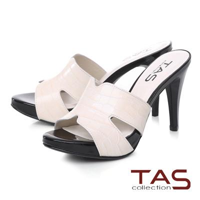 TAS 鏤空剪裁鱷魚壓紋高跟涼拖鞋-簡約白