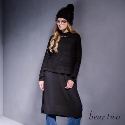 beartwo小立領蕾絲雪紡側開衩兩件式上衣-二色