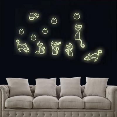 E-013手繪動物系列-小黑貓夜光貼 大尺寸高級創意壁貼 / 牆貼