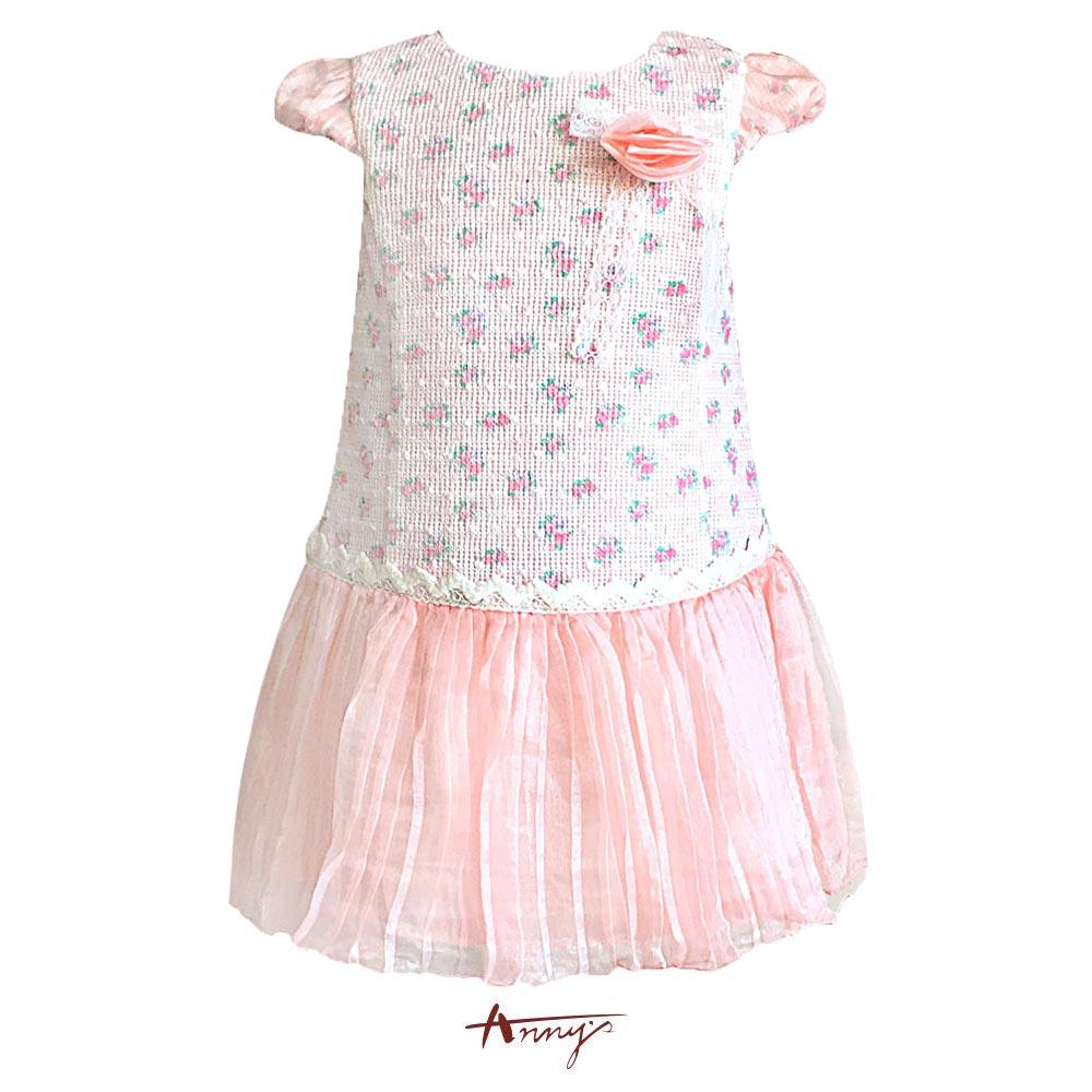 Anny花園仙女系玫瑰碎花拼接緞紗洋裝*5216粉