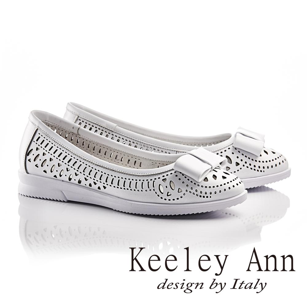 Keeley Ann少女系蝴蝶結OL雕刻鏤空平底鞋(白色-Ann系列)