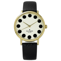 kate spade Metro 美國復刻主流真皮手錶-米黃x金框x黑/34mm