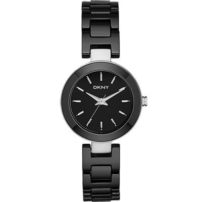 DKNY Stanhope 陶瓷佳人時尚腕錶-黑/28mm