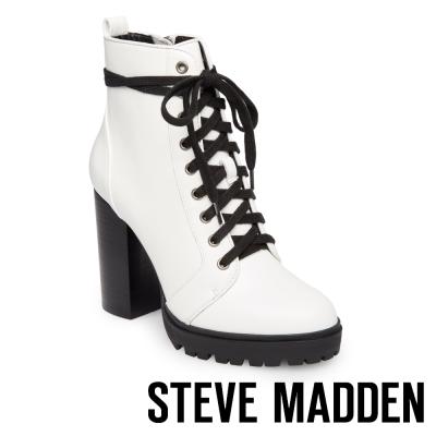 STEVE MADDEN-LAURIE-厚底粗高跟綁帶短靴-白色