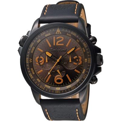 Timberland 叢林野戰時尚日曆腕錶-咖啡x黑/45mm