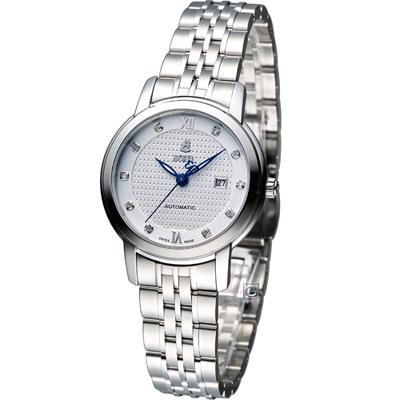 E.BOREL 依波路 皇室系列機械腕錶-銀白/29.5mm