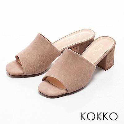 KOKKO - 優雅復古方頭高跟涼拖鞋-時尚米