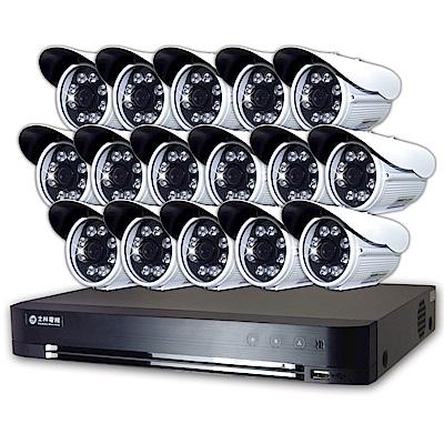 士林電機1080P 16路主機+16支1080P 8列紅外線槍型攝影機