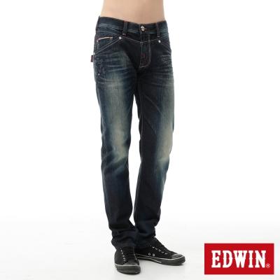 EDWIN 窄直筒 江戶勝紅布邊海浪牛仔褲-男-原藍磨