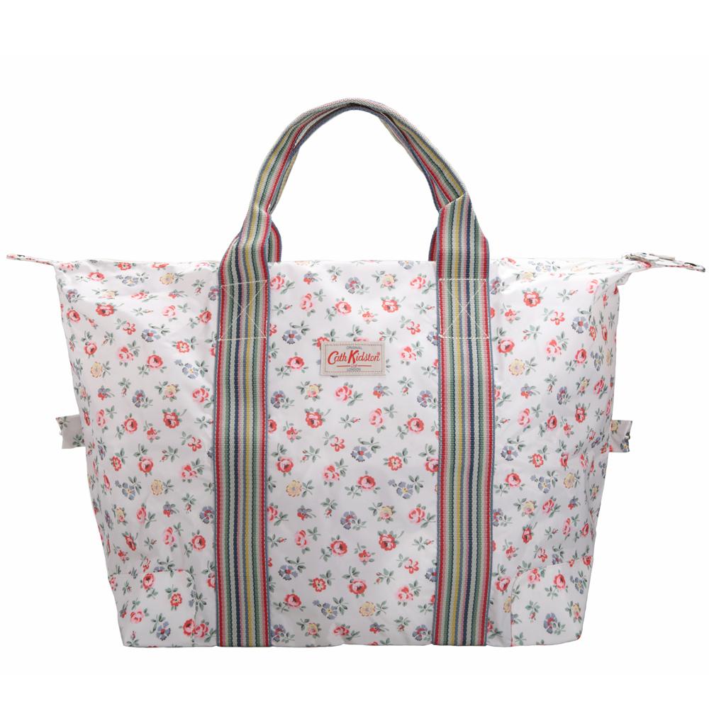Cath Kidston-經典花漾內裡防水折疊購物袋/旅行小提袋-春之印花白