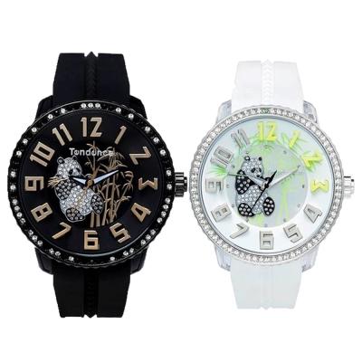 Tendence 天勢錶 熊貓限量款情人對錶 (黑玫瑰金+白銀) 50mm