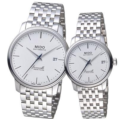 MIDO美度錶 BARONCELLI 永恆系列III簡約時尚對錶 -白/39x33mm