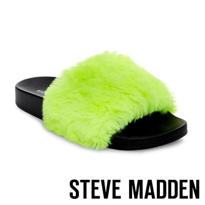 STEVE MADDEN-SOFTEY-MULTI 毛絨一字拖-螢光黃