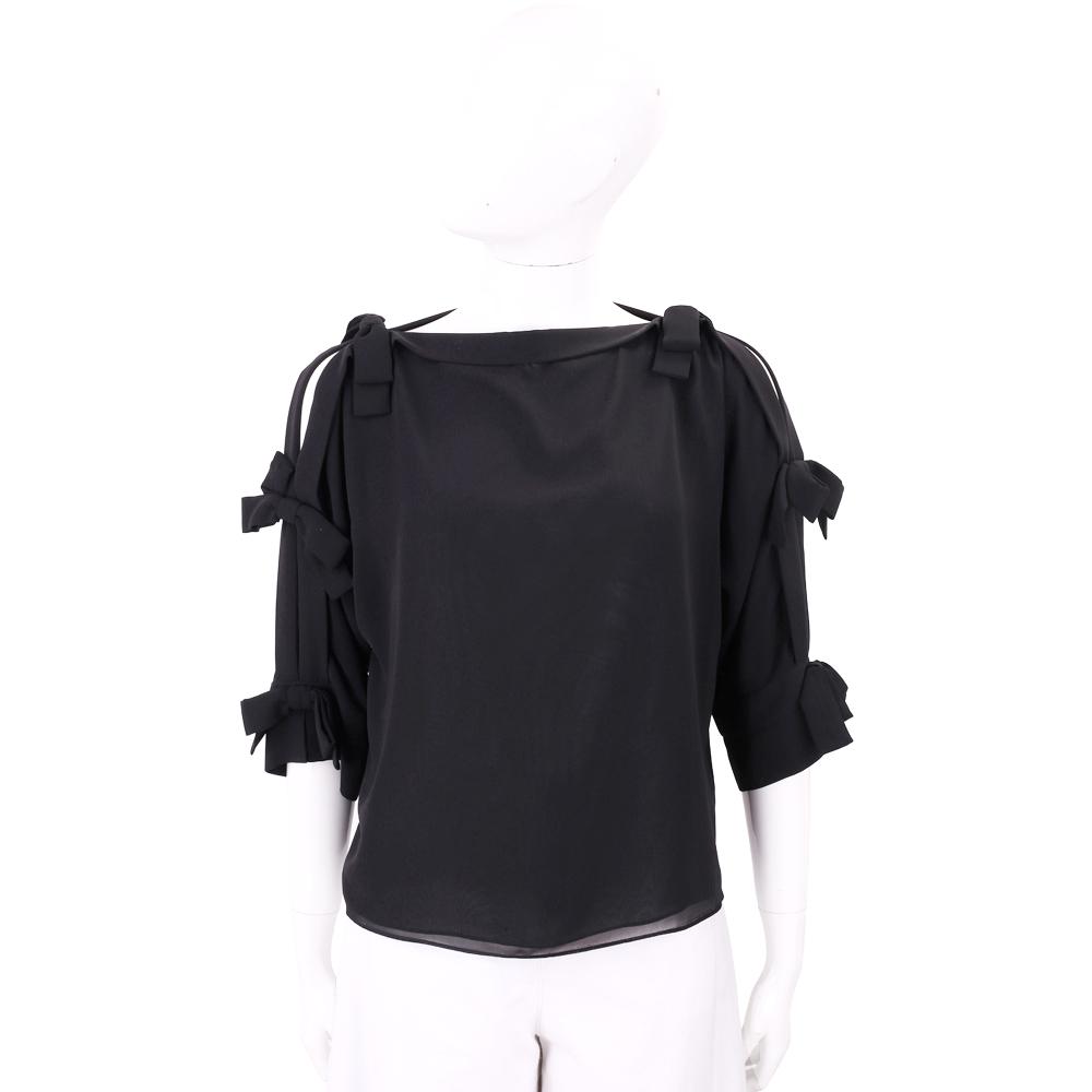 EDWARD ACHOUR PARIS 黑色蝴蝶結綁袖絲滑感上衣
