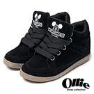 Ollie韓國空運-正韓製米奇刺繡麂皮寬綁帶增高鞋-黑