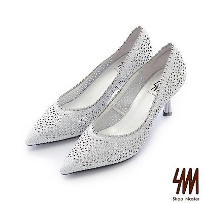 SM-晶鑽真皮-性感鏤空花漾尖頭中高細跟晚宴鞋-銀色