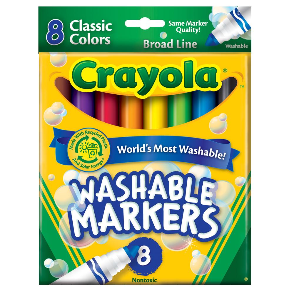 美國crayola 可水洗系列-可水洗8色粗頭彩色筆-經典色(3Y+)