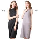 經典優雅圓領無袖壓摺洋裝(共二色)-玩美衣櫃