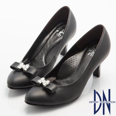 DN-晚宴婚嫁款-霧面珠光全真皮蝴蝶結鑽飾跟鞋-黑