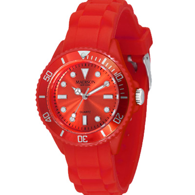 Madison NY Candy Time Mini玩色圓點系列腕錶-晴豔紅/35mm