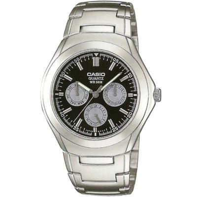 CASIO 簡約都會風三眼指針錶(MTP-1247D-1A)-灰圈底黑