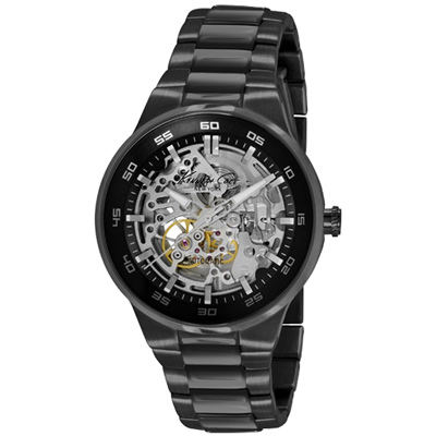 Kenneth Cole 經典設計鏤空不鏽鋼機械腕錶-黑/43mm
