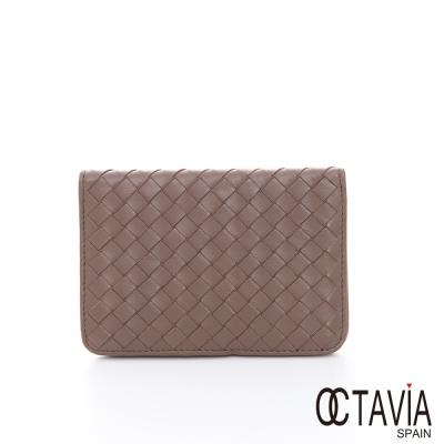 OCTAVIA-8-真皮-德瑞克編織-牛皮護照卡片二用短夾-優雅駝