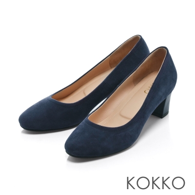 KOKKO- 復古舞曲圓頭素面真皮粗跟鞋 - 麂皮藍
