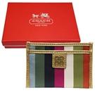 COACH 4C LOGO皮革飾邊緞織布名片卡夾-彩虹銅金(附原廠禮盒)