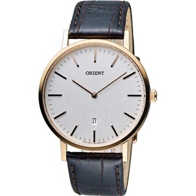 ORIENT 東方錶 SLIM系列 極簡風格石英錶-玫瑰金色/40mm
