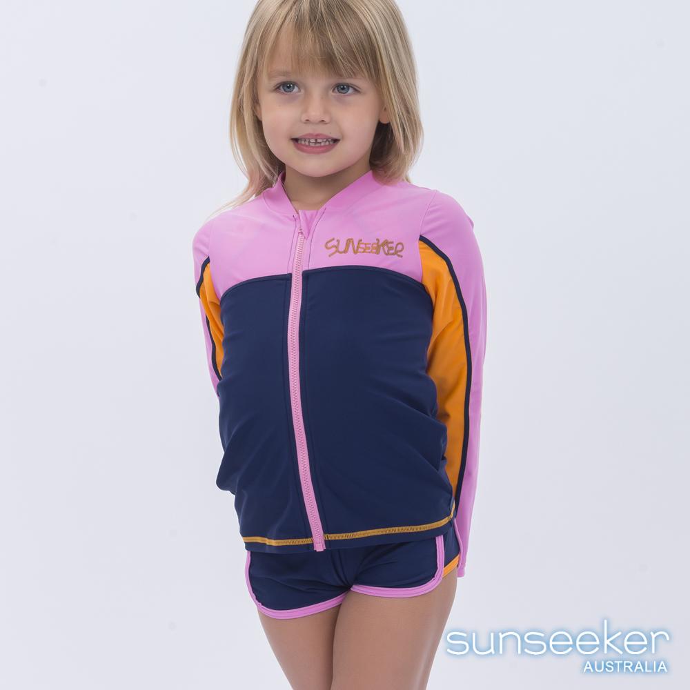 澳洲Sunseeker泳裝抗UV防曬運動外套泳衣-小女童深藍