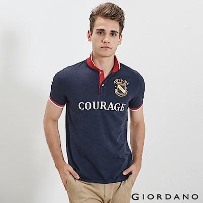 GIORDANO 男裝經典撞色刺繡彈力棉POLO衫-05 標誌海軍藍