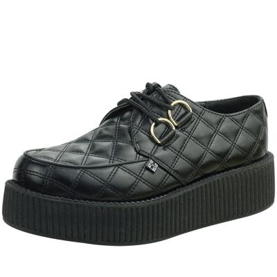 TUK菱格紋經典5公分龐克鞋-黑