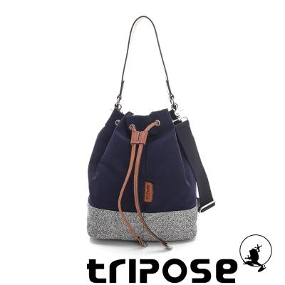 tripose 漫遊系列岩紋玩色束口水桶包 海軍藍