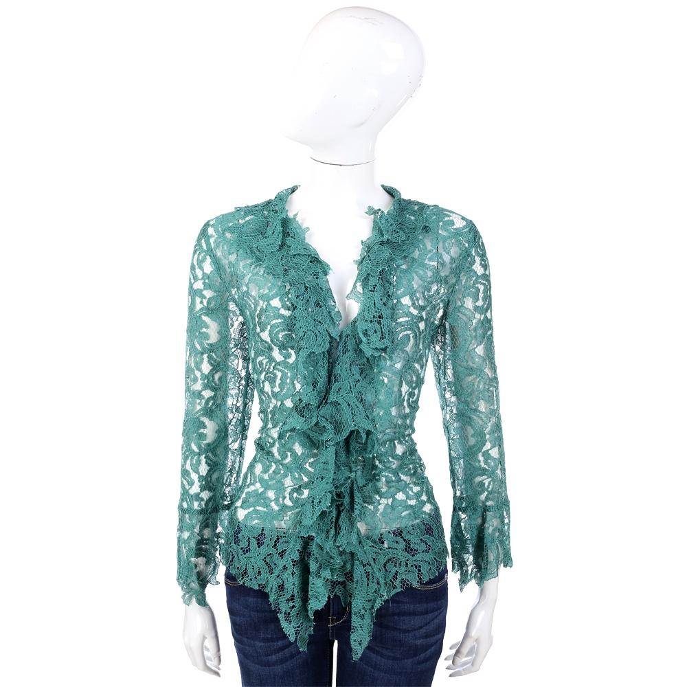PHILOSOPHY-AF 綠色蕾絲織花荷葉造型罩衫