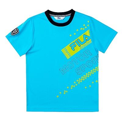 FILA KIDS 男童吸濕排汗上衣-藍 1TES-4438-BU