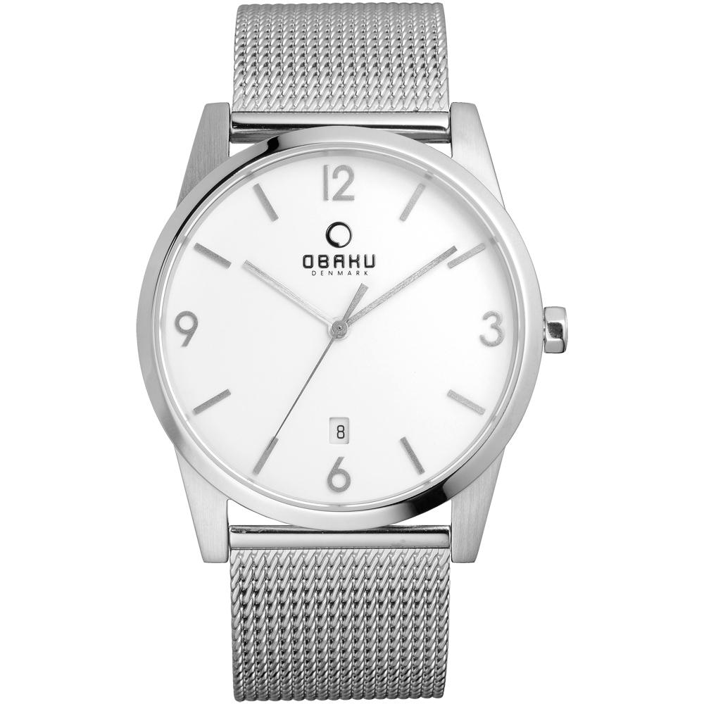 OBAKU 極致深焙簡約日期腕錶-銀框白x米蘭帶/40mm