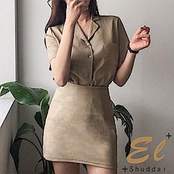 正韓 微學風純色OL棉麻套裝-(共三色)El Shuddai