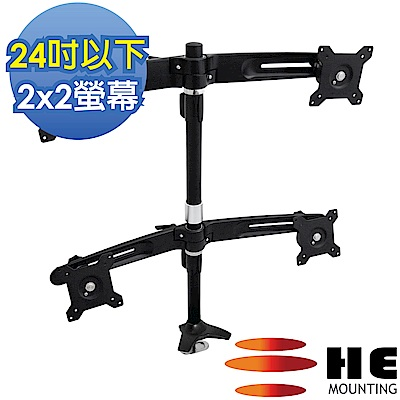 HE 15~24吋LED/LCD四螢幕穿桌型支架(H744Ti)