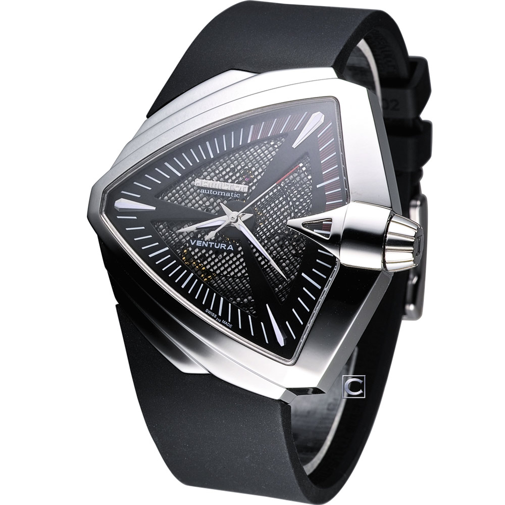 HAMILTON Ventura XXL 貓王盾形造型機械錶-黑/46mm