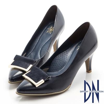 DN-高貴優雅-柔軟羊漆皮金屬飾扣尖頭跟鞋-藍