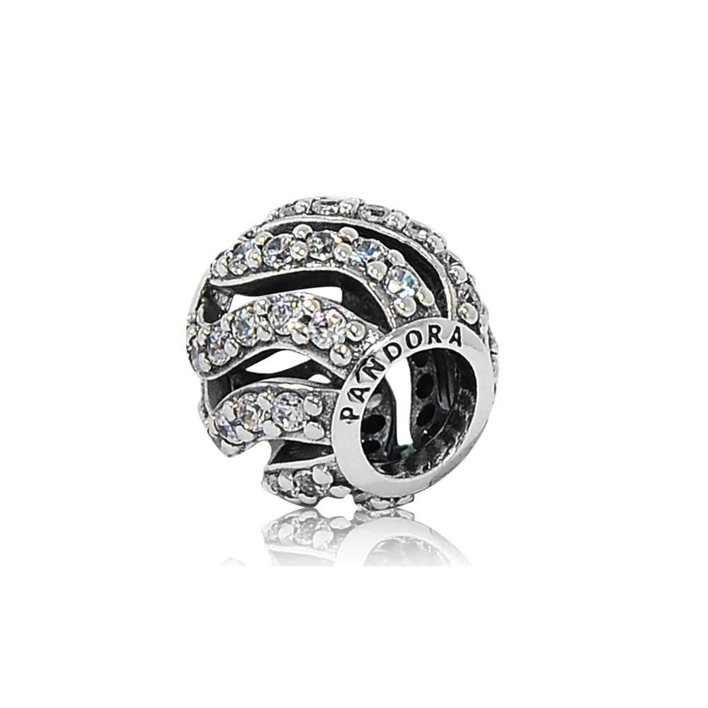 Pandora 潘朵拉 圓形亮鑽波浪線條 純銀墜飾 串珠