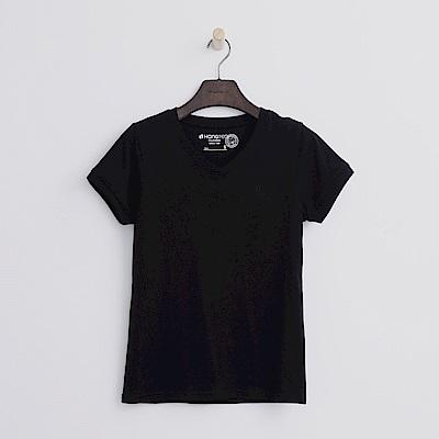 Hang Ten - 女裝 - 有機棉 V領多彩T恤-黑色