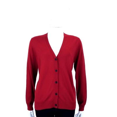 BURBERRY 紅色格紋細節設計美麗諾羊毛開襟針織衫