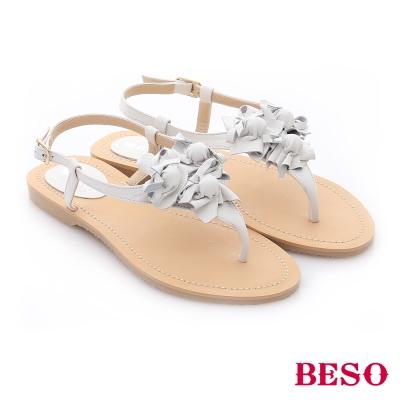 BESO花樣年華-真皮立體鞋花平底夾腳涼鞋-白
