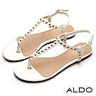 ALDO 原色金屬釦帶鉚釘圓珠T字繫帶夾腳涼鞋~氣質白色